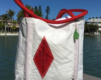One of a kind Sail Logo on Large Sail Bag with original Sailmakers label, by SailAgainBags