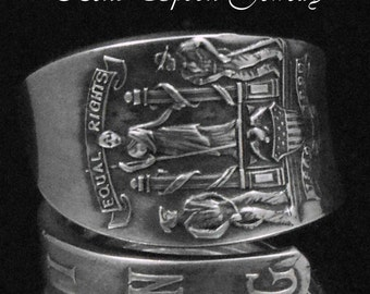 Spoon Ring, Sterling Silver, Wyoming upcycled Silverware, Spoon Ring size 8, Silverware Jewelry