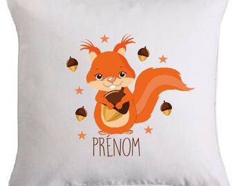SMALL squirrel pillow personalized with text of your choice