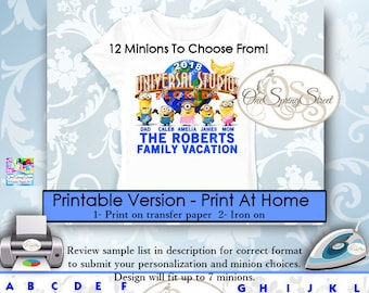 Minions Universal Studios Family Vacation PERSONALIZED Printable Iron On Transfer Matching Trip Group Digital