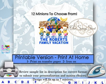 Minions Universal Studios Family Vacation PERSONALIZED Printable Iron On Transfer Matching Family Vacation Trip Group Digital Item # 2070