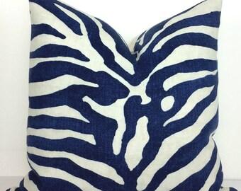 Blue and White Serengeti Pillow Cover - 1 Sided - Designer - Thibaut - Animal Print