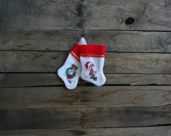 Set of Two Mini Vintage Green, Red & White Christmas Puppies Christmas Stocking