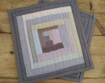 Grey, Taupe, Green, Pink, Rustic Mini Art Quilt.