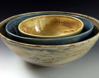 Nesting Bowl Set in Earth Tones by Leslie Freeman, stoneware serving bowls, stoneware serving bowl set