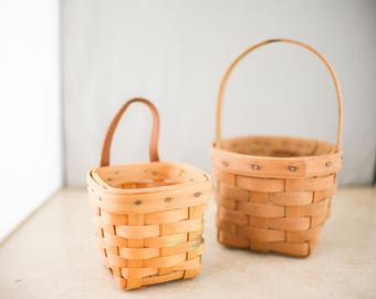 Small Vintage Longaberger Hand Woven Baskets - Set of Two