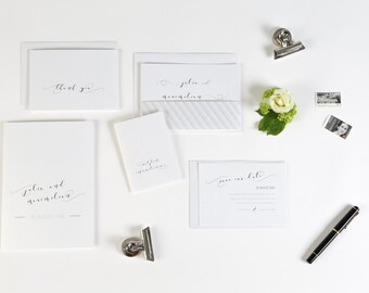Invitation wedding Chesterfield including band and envelope-refined in cream or grey