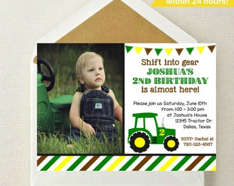 Tractor Photo Invitation // Tractor Birthday Invitation // John Deere Invitation // Farmer Invitation // Tractor Invite // Get in Gear