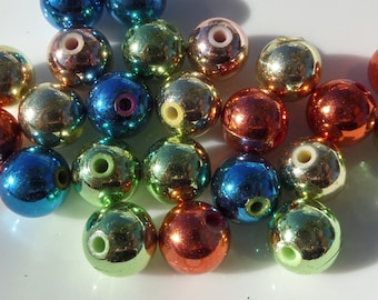 9mm, Multi Colored Acrylic UV Plated Spacer beads, 50CT package, S26