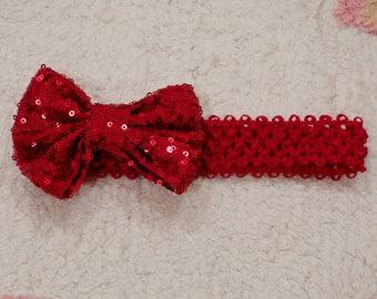 Red Bow headband bow headband baby headband sequin bow headband floppy bow headband newborn headband baby headband christmas headband