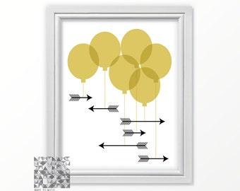 Balloon Art, Arrow Print Printable Art Arrow Art Digital Print Birthday Printable Instant Download Printable Wall Art : A0237 gold