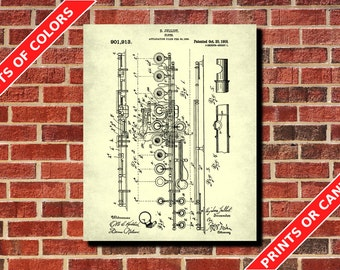 Flute Patent Print, Flute Blueprint Musician Gift Music Room Decor Musical Instruments Poster Orchestra Poster Living Room Decor