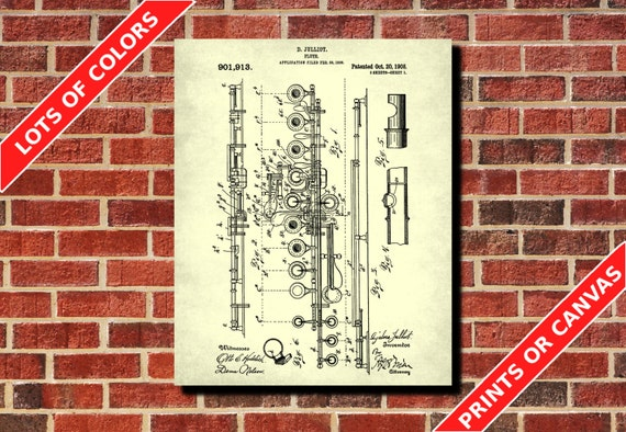 Flute patent print flute blueprint musician gift music room malvernweather Images