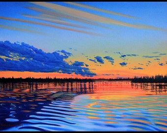 """Landscape Art Print - """"August Sunset 1"""", Limited Edition Giclee Print on Fine Art Paper, 9"""" x 12"""""""