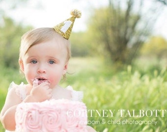 Birthday Party Hat || First Birthday Party Hat || 1st Birthday Party Hat || Gold Birthday Hat || Pom Pom Birthday Hat