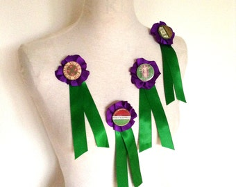 Handmade suffragette rosette, Edwardian costume, pin badge, Votes for Women