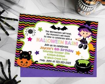 Halloween Birthday Party, Kids Birthday Party Invitations, Kids Halloween Party, Kids Birthday Party Invites, Halloween Invitations