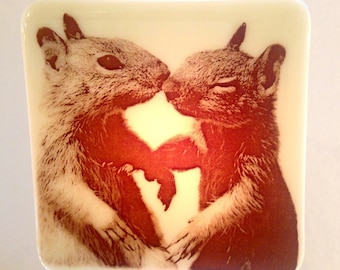 Baby Squirrels Kissing Night Light Fused Glass