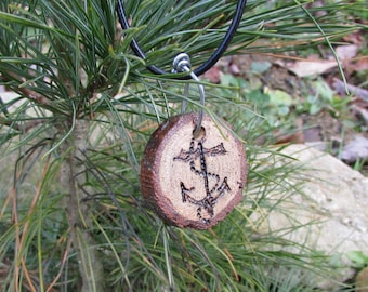 Anchor Necklace, Wood Slice Anchor Necklace, Anchor Jewelry, Rustic Nautical Necklace, Rustic Anchor Necklace, Rustic Anchor Jewelry, Anchor