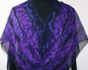 Purple Silk Scarf Handpainted Shawl PURPLE EVENING, in 3 SIZES, by Silk Scarves Colorado. Birthday Gift, Mother Gift. Handmade Silk Gift.