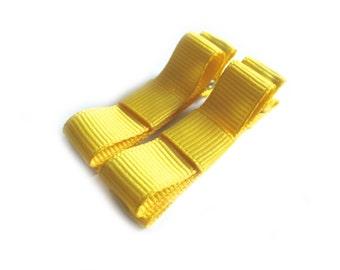 Hot Yellow Hair Clips Yellow Tuxedo Bows Yellow Lined Hair Clips Bright Yellow Hair Clips Neon Yellow Hair Clips Baby Girl Hair Clips