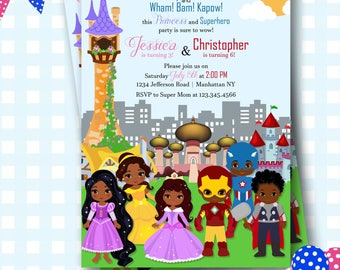 Superhero and Princess Invitation, Superheroes and Princesses invite,, Superhero Princess Party, Birthday Invitations, Birthday Invite - SP4
