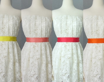 Wedding Bridal Double Faced Satin Ribbon Sash Yellow, Salmon, Coral and Orange
