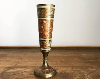 Vintage India Brass Vase/Brass Bud Vase/Brass Cloisonne Vase/Harilela's India Brass/Small Decorative Brass Vase/Vintage Engraved Brass Cup
