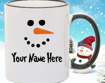 Snowman Mug Personalized Name Mug Family Name Mug Christmas Holiday Custom Name Mug Christmas Gift Customize with ANY NAME