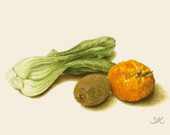 Small Still Life Baby Bok Choy Kiwi and Tangerine | Small Art | Kitchen Decor | Produce | Farmer Market