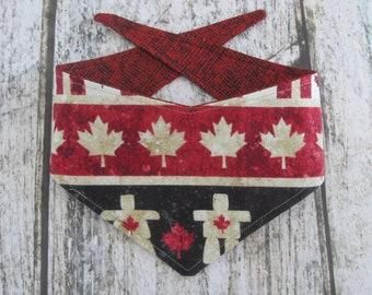XS reversible tie on dog bandana - Canada theme/red black Kanine Kerchief