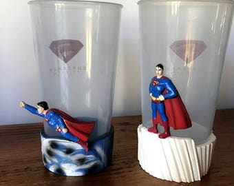 Vintage collectable pair of Superman Return plastic cups tumblers from Hungry Jacks