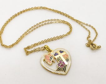 Vintage Cloisonne Pendant/ Heart & Cross Necklace/ Chain Link Necklace/ Gold Necklace Chain/ Heart Pendant Necklace/ Womens Cross Necklace