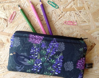 Handmade Blackbird in purple paradise  padded zip case make up bag glasses case purse allium spirea lupin nature birds  pencil case