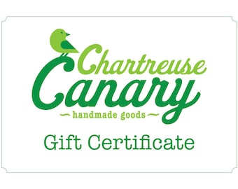 Gift Certificate for One Custom Baby Pillow from Chartreuse Canary