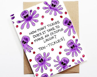 Funny Friend Card - Octopus, Thinking of You Card, Blank Card, Just Because Card, Cute Greeting Card, Friendship Card, Funny Card