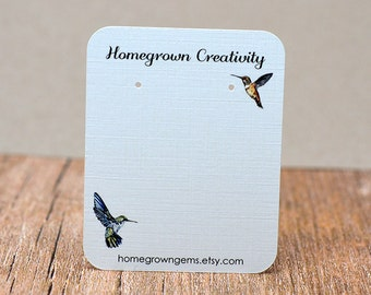 Earring Cards Customized with Hummingbirds and Your Information - Jewelry Display Tags - Price Tags - Earring Tags