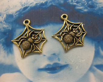 Antique Brass Plated Cast Pewter Spider in a Web Charms 90GOL x2