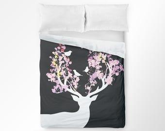 Deer Duvet Cover, Deer Bedding, Deer Bedroom, Woodland Bedding, Deer Decor, Kids Teen Bedding, Dorm Bedding, Floral Duvet Cover