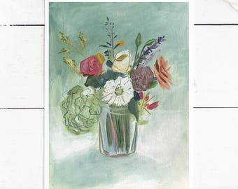 Art Print: Emma Floral Painting / Original Drawing Art Print / Wildflower Painting / 5x7 / 8x10