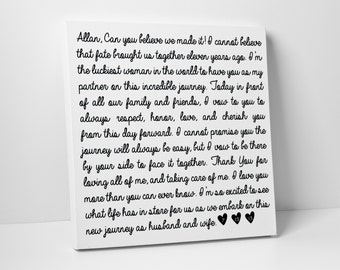 Valentine's Day Gift, First Paper Anniversary Gift, Wedding Vows on Canvas, Fathers Day, For Him, For Her