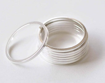 10 pcs Silver Plated Thick Seamless Circle Rings 26mm 14gauge A8824