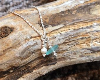Light Blue Sea Glass Charm Necklace