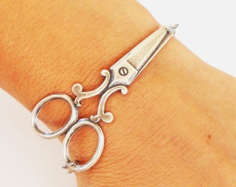 Steampunk Scissor Bracelet Sterling Silver Ox Finish