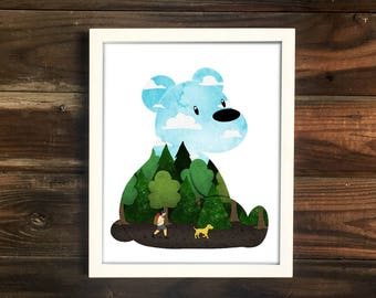 Day Bear Print, cute illustration, camping print, explore art, nursery art, cute print, baby shower