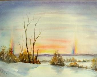 "ORIGINAL Watercolor Winter Sunset Landscape Painting-Sun Dogs-Snow-Winter Trees-11""x15"" Medium Wall Hanging"
