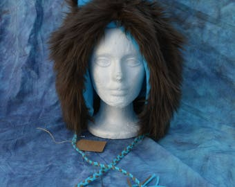 Brown & Turquoise Ear Hat