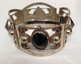 "Vintage sterling silver and black onyx bracelet ""Taxco"""