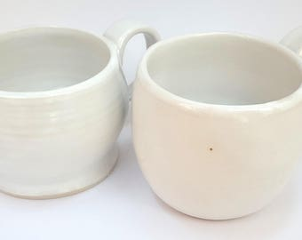 Hand thrown set of 2 mugs