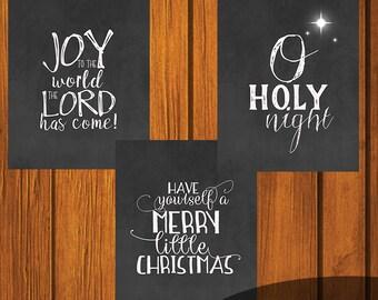 Christmas Chalkboard Printables/ Joy To The World / Merry Little Christmas / O Holy Night / Holiday Printable / Christmas / Set of three